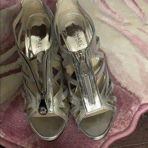 Michael Kors silver Berkeley high heels
